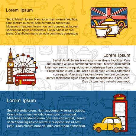 bus anglais: concept de Voyage avec des objets mignons dessinés à la main de bande dessinée sur le thème: Londres bus rouge, Big Ben, London Eye, boîte de téléphone. Grande pour le site, carte