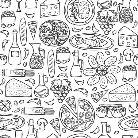 wine and cheese: Seamless background with cute hand drawn cartoon objects on mediterranean cuisine theme: tomato, pasta, wine, cheese, olive, Ethnic food travel concept.  Illustration