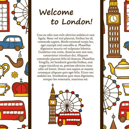 telephone box: travel concept with cute hand drawn cartoon objects on London theme: red bus, big ben, london eye, telephone box.