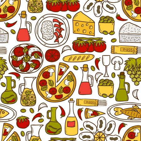 Seamless background with cute hand drawn cartoon objects on mediterranean cuisine theme: tomato, pasta, wine, cheese, olive, Ethnic food travel concept.