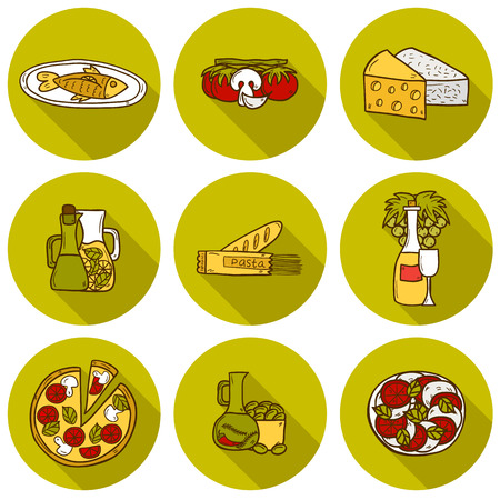 mediterranean: Set of cute hand drawn cartoon shadow objects on mediterranean cuisine theme: tomato, pasta, wine, cheese, olive, Ethnic food travel concept.  Illustration