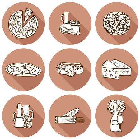 wine and cheese: Set of cute hand drawn cartoon shadow objects on mediterranean cuisine theme: tomato, pasta, wine, cheese, olive, Ethnic food travel concept.