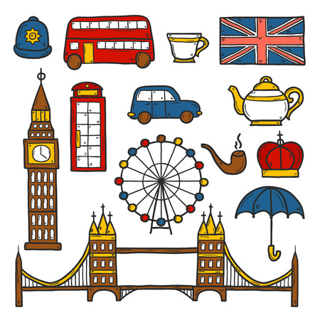 Set of cute hand drawn cartoon objects on London theme: queen crown, red bus, big ben, umbrella, london eye, telephone box. Travel concept for site, card Illustration