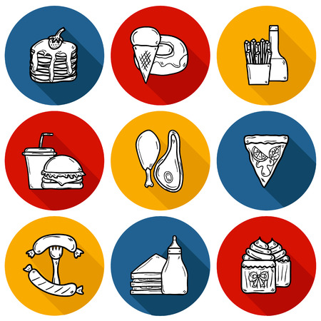 american cuisine: Set of cartoon objects on american food theme: fried potato, hot dog, soda, hamburger, sandwich. Ethnic cuisine and travel concept for your design