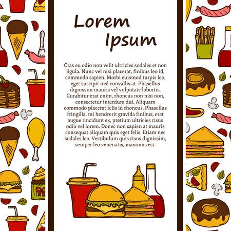 comida americana: Concepto del recorrido del vector con el fondo y dibujos animados sin fisuras objetos americano tema de los alimentos: papas fritas, hot dog, soda, hamburguesa, s�ndwich para su dise�o