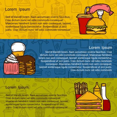 comida americana: Concepto del recorrido del vector con la l�nea de fondo y de dibujos animados objetos en American tema de los alimentos: papas fritas, hot dog, soda, hamburguesa, s�ndwich para su dise�o
