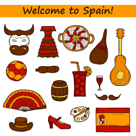 sangria: Set of cartoon drawn icons on Spain theme: flag, bull, ball, flamenco, guitar, jamon. Travel europe concept for your design Illustration