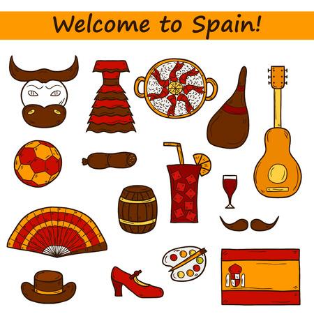 sangria: Set of cartoon drawn icons on Spain theme: flag, bull, ball, flamenco, guitar, jamon. Travel europe concept for your design Illustration