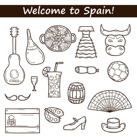 bullfight: Set of cartoon drawn icons on Spain theme: flag, bull, ball, flamenco, guitar, jamon. Travel europe concept for your design Illustration