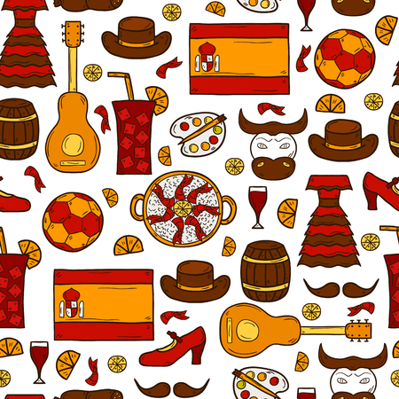 dali: Seamless background with cartoon drawn objects on Spain theme: flag, bull, ball, flamenco, guitar, jamon. Travel europe concept for your design