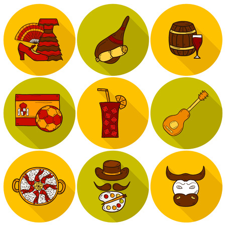 castilla: Set of cartoon drawn icons on Spain theme: flag, bull, ball, flamenco, guitar, jamon. Travel europe concept for your design Illustration