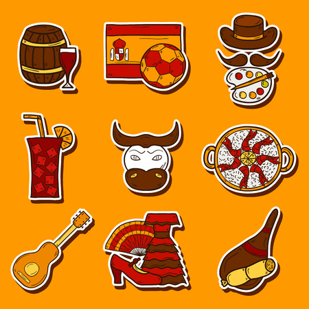 sangria: Set of cartoon drawn stickers on Spain theme: flag, bull, ball, flamenco, guitar, jamon. Travel europe concept for your design