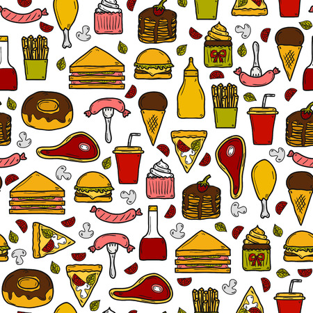 american cuisine: Seamless background with objects on american food theme: fried potato, hot dog, soda, hamburger, sandwich. Ethnic cuisine and travel concept for your design Illustration