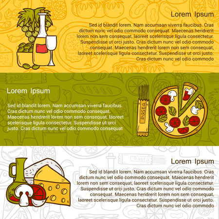wine and cheese: food concept with line background and cartoon objects on Mediterranean cuisine theme: tomato, pasta, wine, cheese, olive for your design Illustration