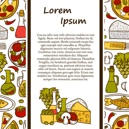 wine and cheese: food concept with seamless background and cartoon objects on Mediterranean cuisine theme: tomato, pasta, wine, cheese, olive for your design Illustration