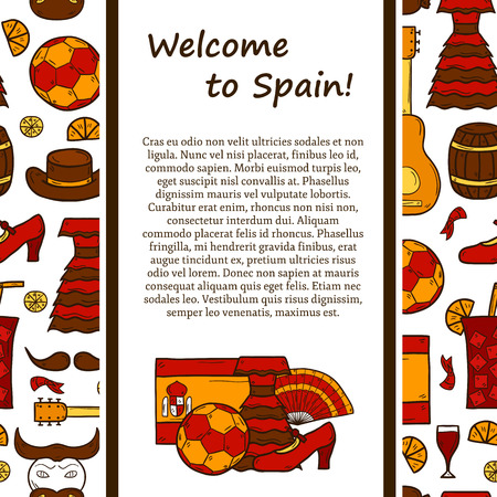 corrida: travel europe concept with line background and cartoon drawn objects on Spain theme: flag, bull, ball, flamenco, guitar, jamon for your design