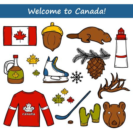 maple syrup: Conjunto de objetos de mano de dibujos animados dibujados en Canad� el tema: el jarabe de arce, palo de hockey, duende malicioso, oso, la bocina, plana. Concepto del recorrido norteam�rica para su dise�o