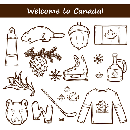 hockey stick: Set of cartoon hand drawn objects on Canada theme: maple syrup, hockey stick, puck, bear, horn, flat. Travel north america concept for your design Illustration