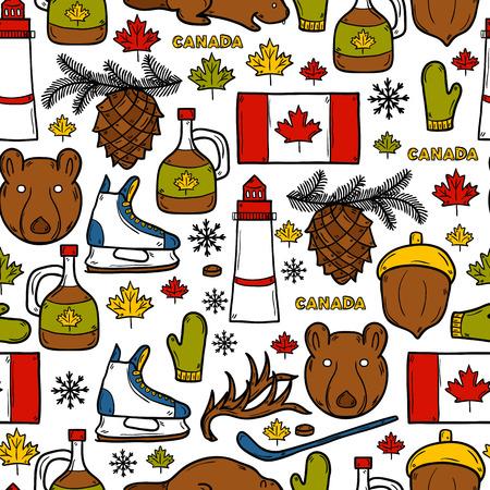 maple syrup: Fondo incons�til con los objetos de mano de dibujos animados dibujados en Canad� el tema: el jarabe de arce, palo de hockey, duende malicioso, oso, la bocina, plana. Concepto del recorrido norteam�rica para su dise�o