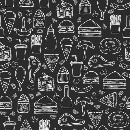 Naadloze achtergrond met de voorwerpen op Amerikaans voedsel thema: gebakken aardappel, hot dog, soda, hamburger, sandwich. Etnische keuken en reizen concept voor uw ontwerp Stock Illustratie