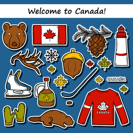 maple syrup: Set of cartoon hand drawn stickers on Canada theme: maple syrup, hockey stick, puck, bear, horn, flat. Travel north america concept for your design