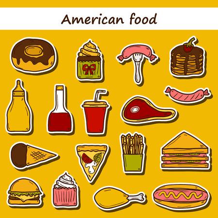 comida americana: Conjunto de pegatinas de dibujos animados sobre americano tema de los alimentos: papas fritas, hot dog, soda, hamburguesa, s�ndwich. Cocina �tnica y el concepto de viaje para su dise�o Vectores