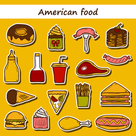 american cuisine: Set of cartoon stickers on american food theme: fried potato, hot dog, soda, hamburger, sandwich. Ethnic cuisine and travel concept for your design Illustration