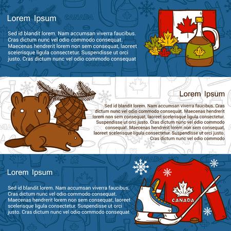 maple syrup: viajar al norte concepto Latina con objetos animados dibujados mano en Canad� el tema: el jarabe de arce, palo de hockey, duende malicioso, oso, cuerno para su dise�o