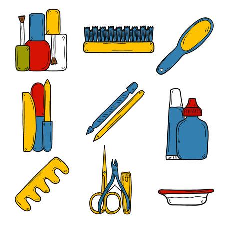 manicura pedicura: Conjunto de objetos lindos dibujados a mano sobre el tema manicura pedicura: m�quinas de cortar, pulir, archivo, pinza, cremas. Concepto de la belleza para su dise�o