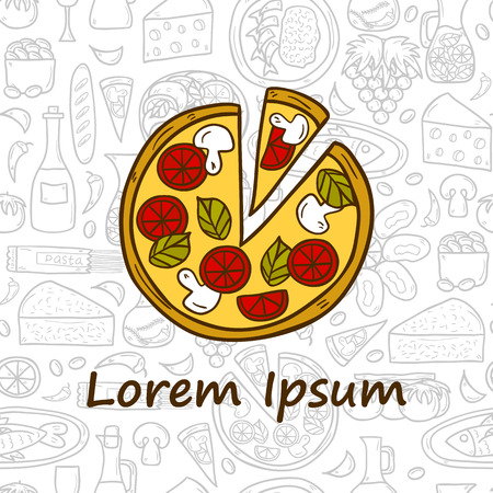 wine and cheese: food concept with pizza and seamless background on Mediterranean cuisine theme: tomato, pasta, wine, cheese, olive. Great for restaurant menu, card Illustration