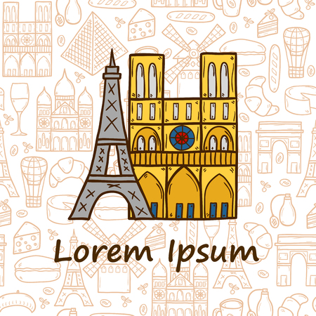 rouge: travel concept with hand drawn cartoon objects and seamless background on Paris theme: eiffel tower, flag, moulen rouge, wine, croissant, macaroon.