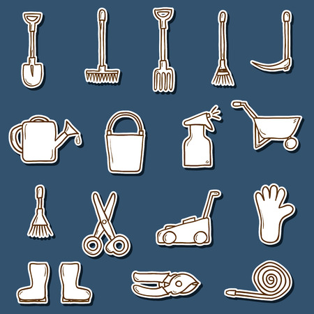 crop sprayer: Set of hand drawn stickers with garden tools. Outdoor and hobby concept for your design Illustration