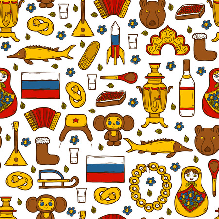 Seamless background with cute hand drawn objects on Russia theme: balalaika, vodka, bear, ushanka, matrioshka, rocket. Travel concept for your design Ilustração