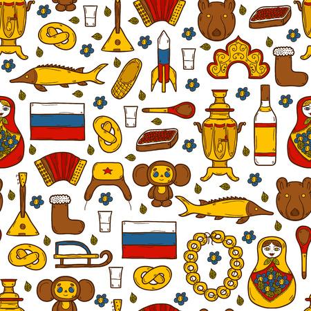 Seamless background with cute hand drawn objects on Russia theme: balalaika, vodka, bear, ushanka, matrioshka, rocket. Travel concept for your design Vettoriali