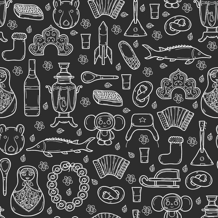 matrioshka: Seamless background with cute hand drawn objects on Russia theme: balalaika, vodka, bear, ushanka, matrioshka, rocket. Travel concept for your design Illustration