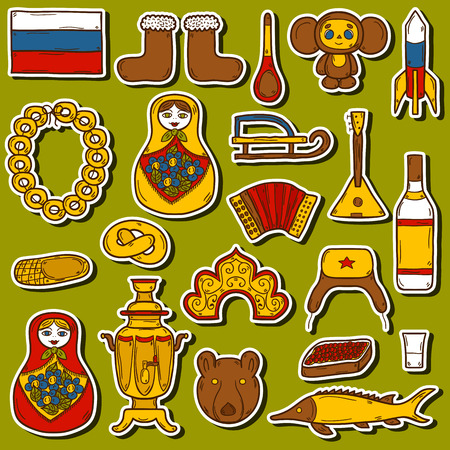 red square moscow: Set of hand drawn stickers on Russia theme: balalaika, vodka, bear, ushanka, matrioshka, rocket. Travel concept for your design