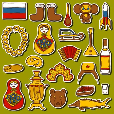 matrioshka: Set of hand drawn stickers on Russia theme: balalaika, vodka, bear, ushanka, matrioshka, rocket. Travel concept for your design