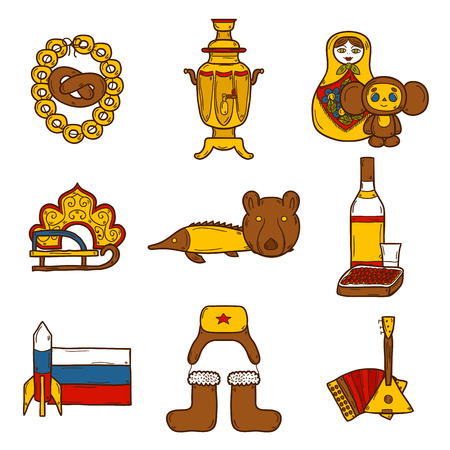 matrioska: Set of hand drawn objects on Russia theme: balalaika, vodka, bear, ushanka, matrioshka, rocket. Travel concept for your design Illustration