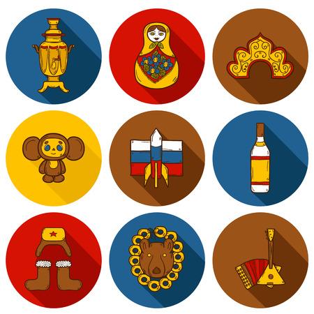 kokoshnik: Set of hand drawn objects on Russia theme: balalaika, vodka, bear, ushanka, matrioshka, rocket. Travel concept for your design Illustration