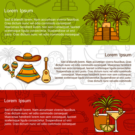 mexican hat: travel mexican concept with hand drawn objects and background on Mexico  Illustration