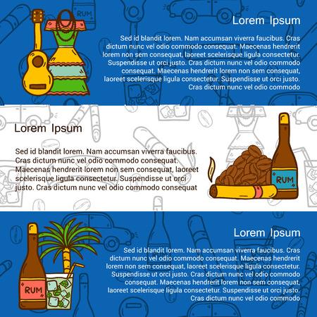 canne a sucre: concept de Voyage avec des objets dessin�s � la main et fond cubaine � Cuba ou en Am�rique latine th�me: rhum, cocktail, la canne � sucre, du caf�, de la guitare, cigare pour votre conception