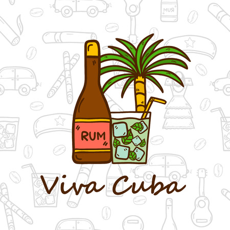 havana cigar: travel concept with hand drawn objects and Cuban seamless background on Cuba or Latin America theme: rum, cocktail, sugar cane, coffee, guitar, cigar for your design