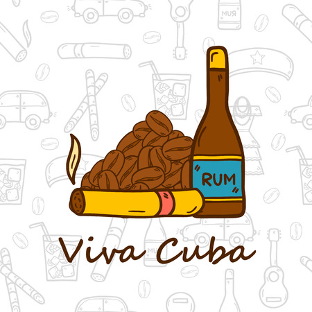 cuban cigar: travel concept with hand drawn objects and Cuban seamless background on Cuba or Latin America theme: rum, cocktail, sugar cane, coffee, guitar, cigar for your design