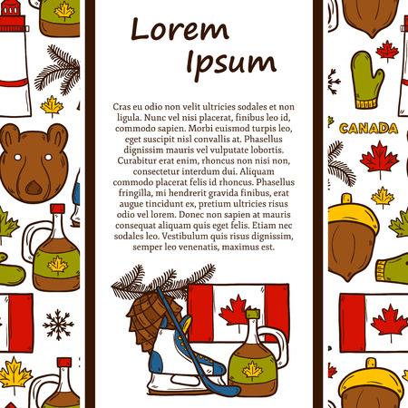 maple syrup: Al norte del recorrido del vector concepto de am�rica con objetos de mano de dibujos animados dibujados en Canad� el tema: el jarabe de arce, palo de hockey, duende malicioso, oso, cuerno para su dise�o