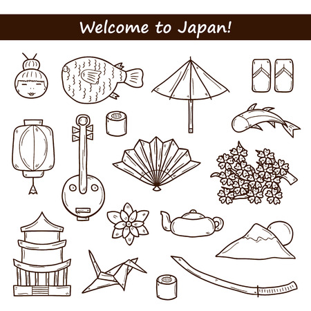 sunfish: Set of icons in hand drawn outline style on Japan theme: geisha, sword, sushi, sakura, lantern, origami. Travel japanese consept for your design