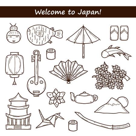 Set of icons in hand drawn outline style on Japan theme: geisha, sword, sushi, sakura, lantern, origami. Travel japanese consept for your design