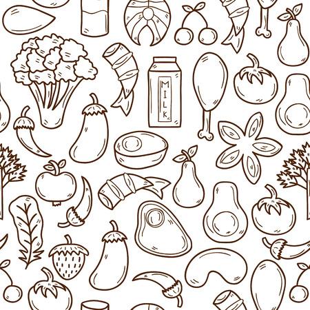 Naadloze achtergrond met de voorwerpen in de hand getekende schets stijl op paleo dieet thema: vlees, vis, fruit, groenten, specerijen, noten. Gezonde voeding concept voor uw ontwerp