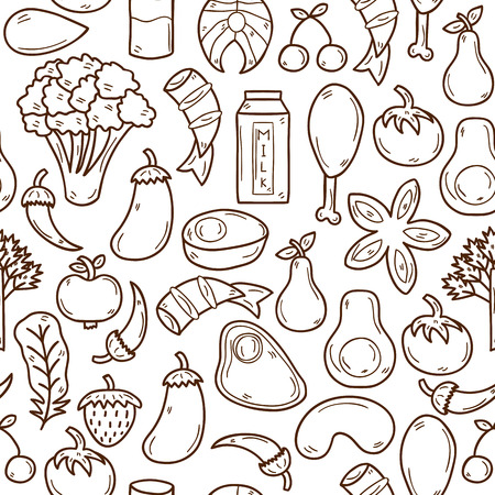 Seamless background with objects in hand drawn outline style on paleo diet theme: meat, fish, fruits, vegetables, spices, nuts. Healthy food concept for your design Ilustração