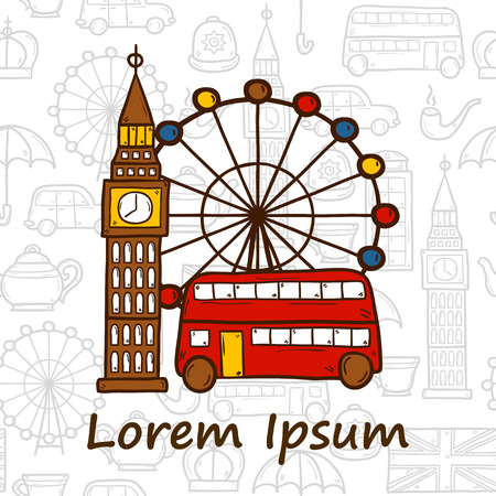 teatime: Vector travel concept on teatime or England theme with hand drawn cartoon objects and seamless background for your design