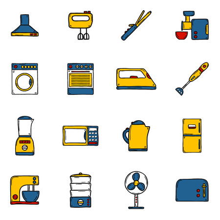 iron fan: Set of objects in hand drawn cartoon style on home appliance theme: fridge, kettle, microwave, steamer, mixer, iron, stove. House care and housekeeping concept for your design